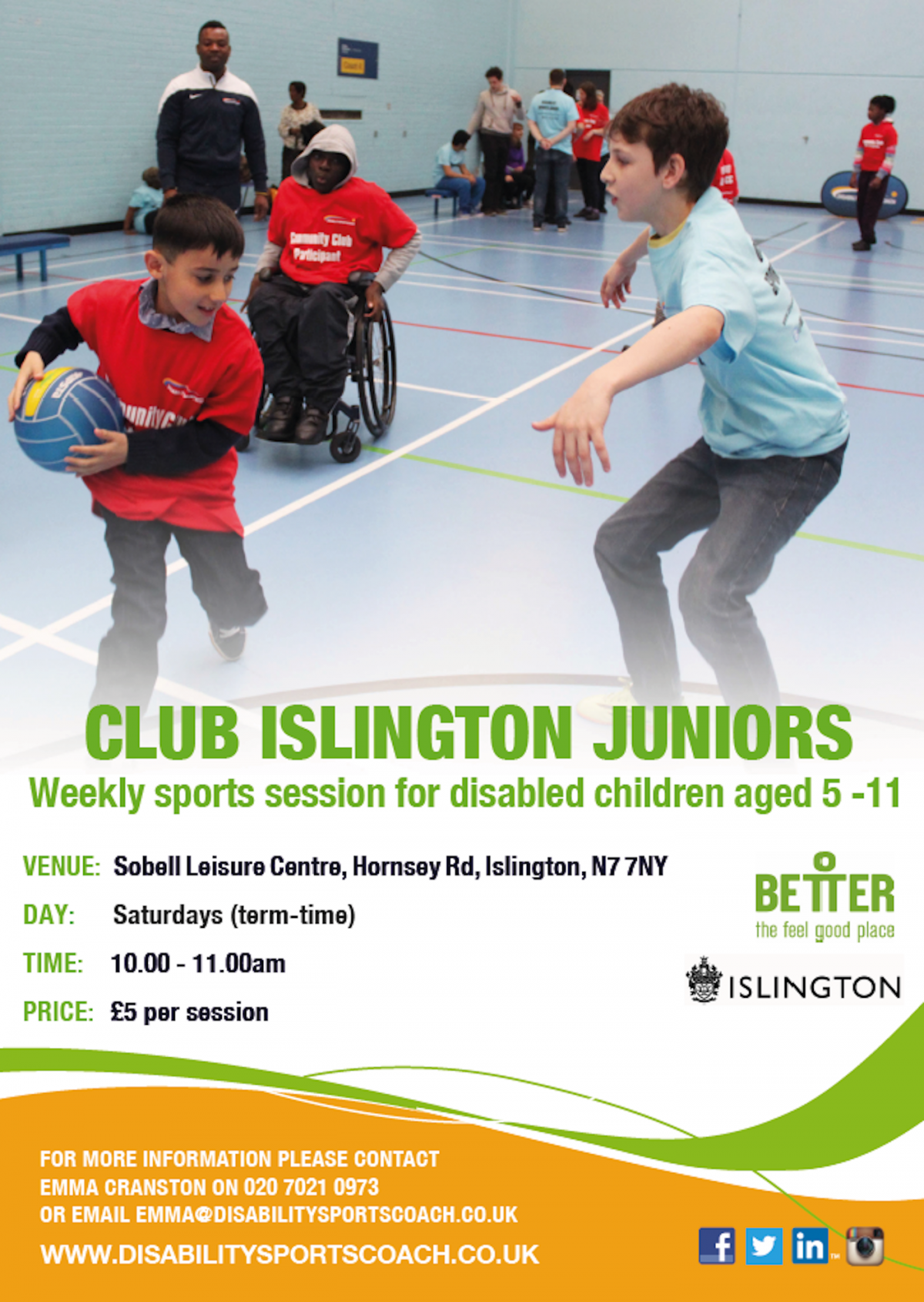 DSC Club Islington Juniors - weekly sports session for disabled children aged 5-11