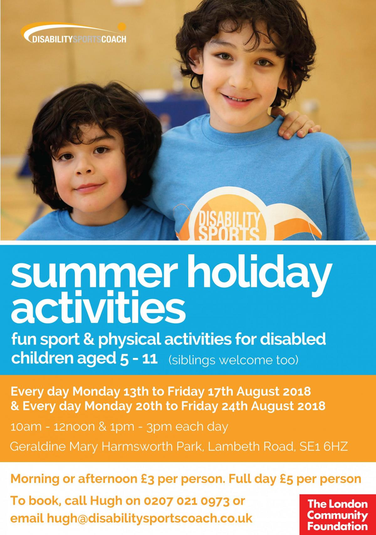 Summer Holiday Activities - fun sport & physical activities for disabled people aged 5-11