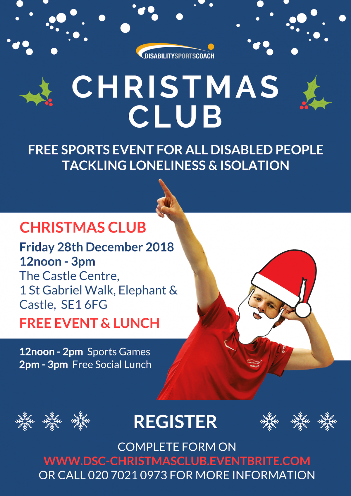 Christmas Club - free sports and lunch event for all disabled people - unity - community clubs tackling isolation and loneliness