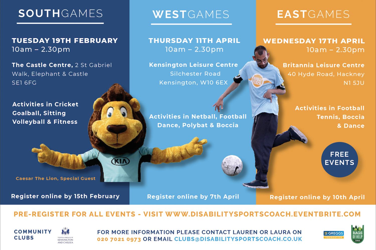 Disability Sports Coach - East ClubGames 2019 - free activities for all disabled people