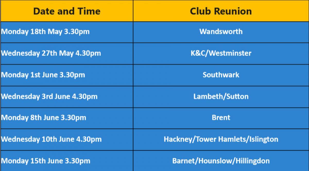 Community Club Reunion Timetable