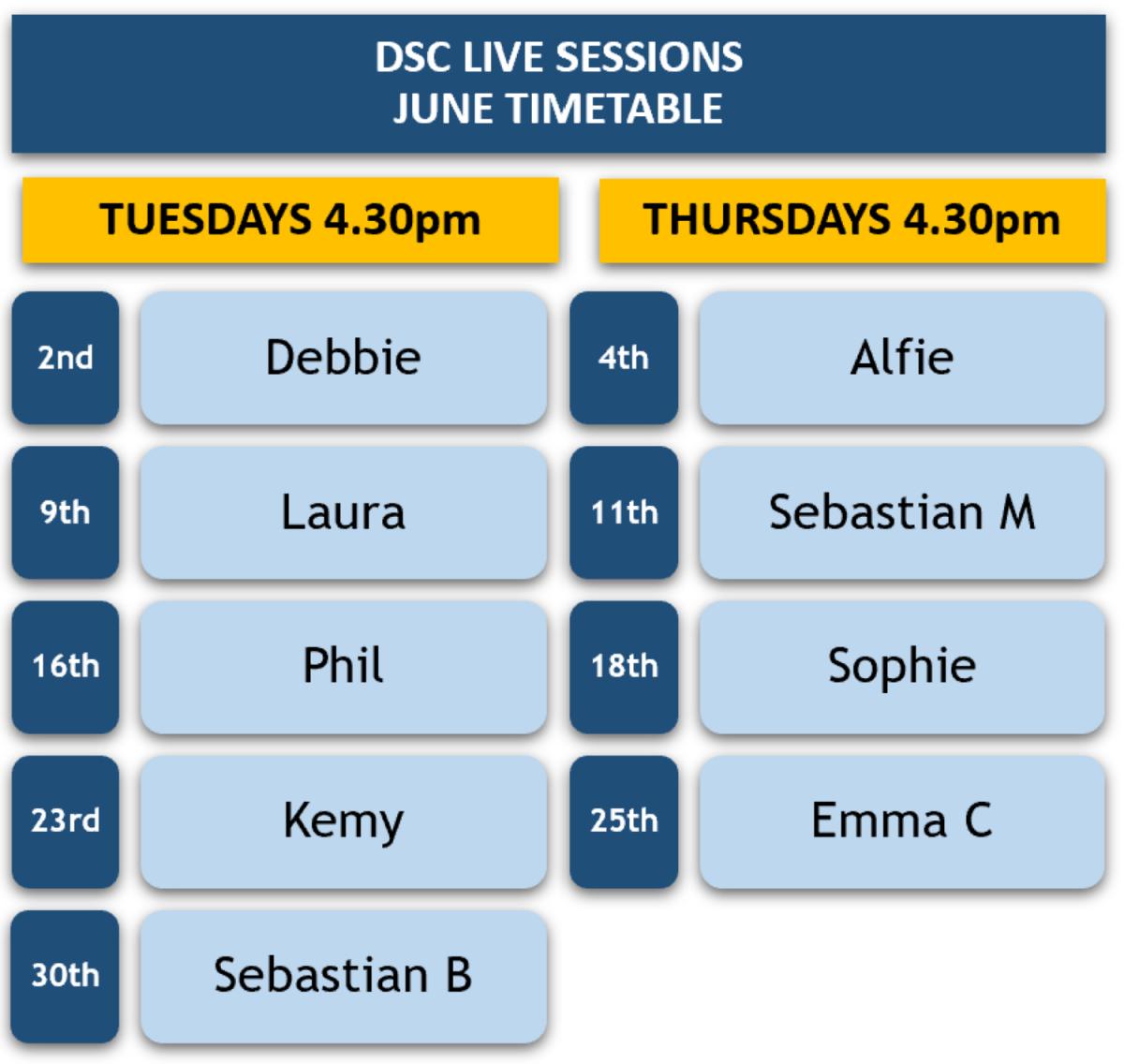 DSC Live Sessions Timetable