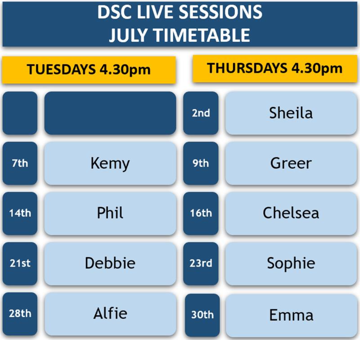 DSC Live Sessions Timetable - July