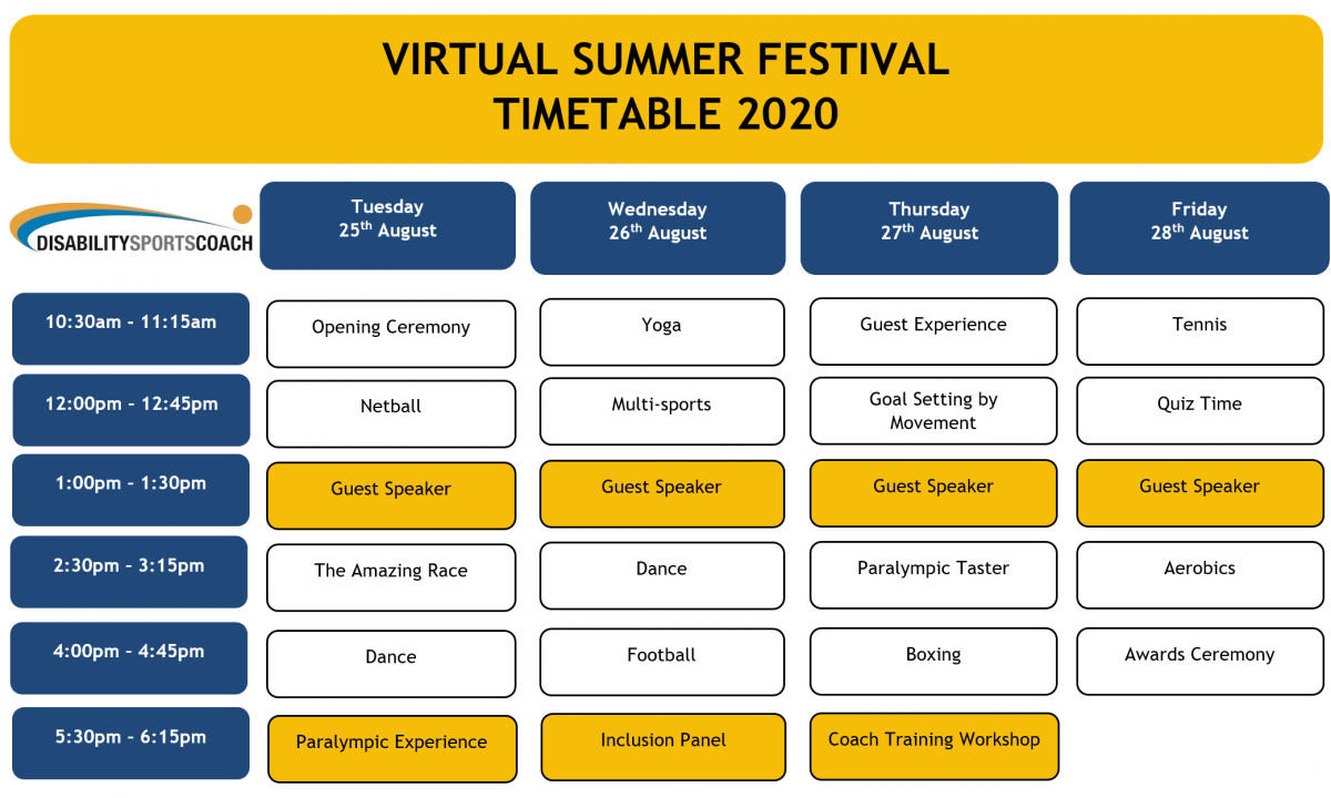 Virtual Summer Festival Timetable
