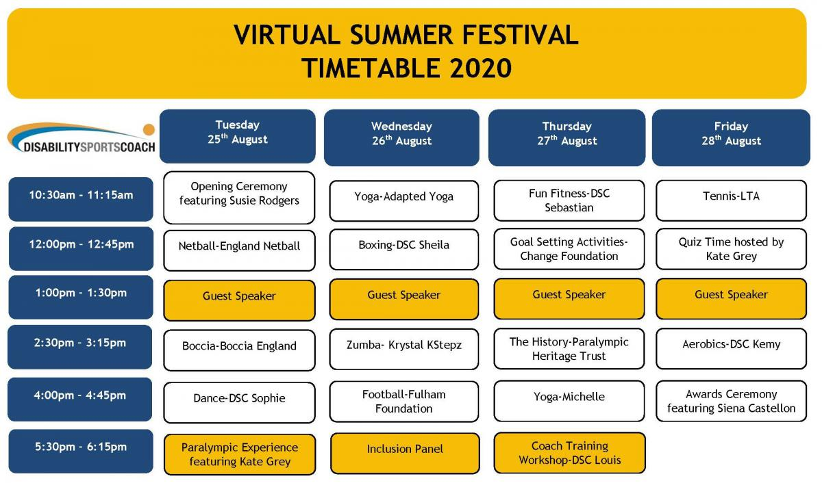 Virtual Summer Festival Timetable