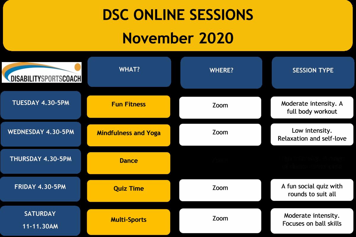 DSC Online Sessions Timetable