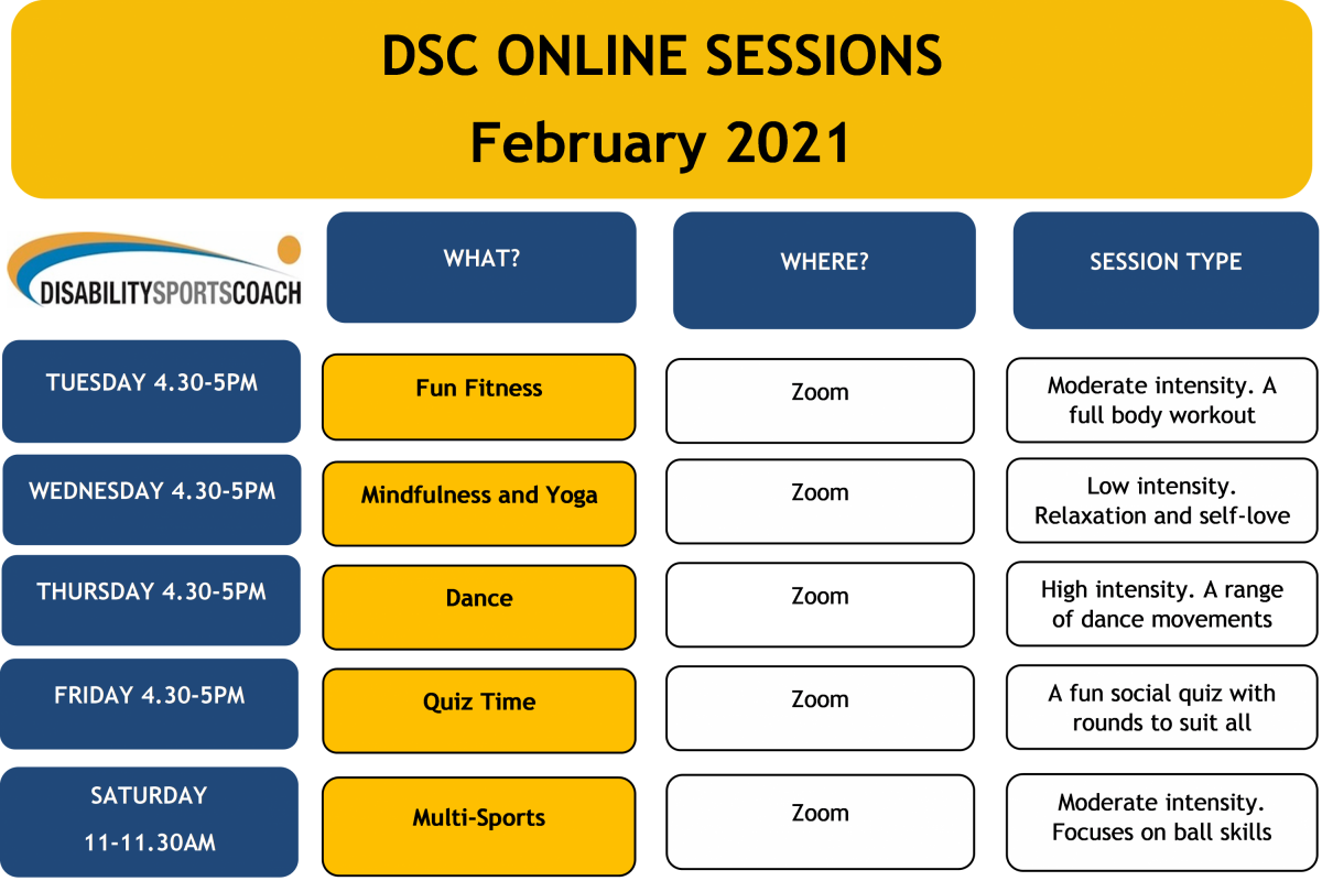 Online sessions timetable