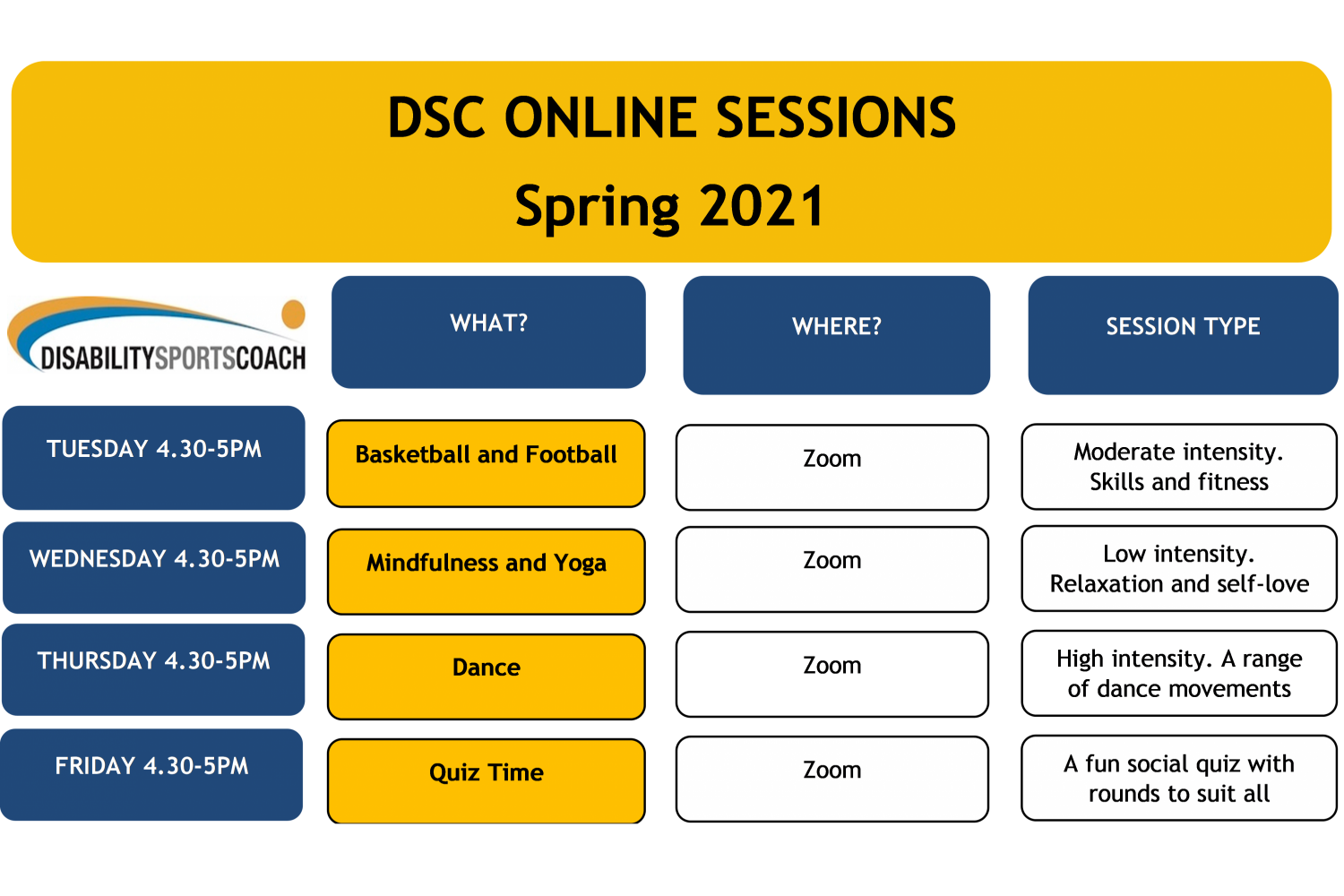 Zoom Live Sessions Timetable